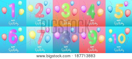 Birthday cards. Balloon numbers, glossy confetti, lettering and trendy background