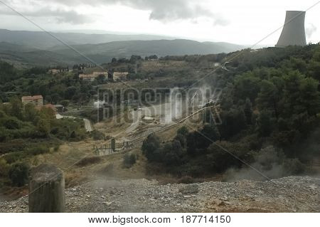 View of a geothermal energy power plant in Italy