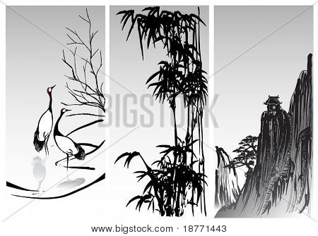 vector image of vertical scroll oriental paintings