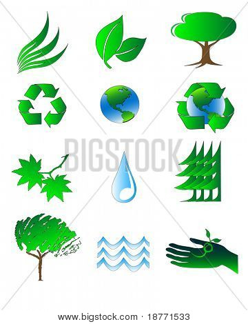 vector illustration of ecology symbols and icons