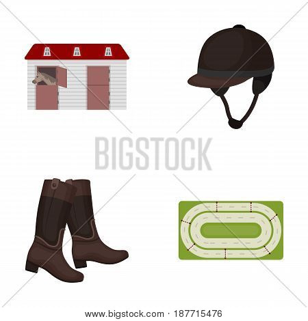 Boots, grass, stadium, track, rest .Hippodrome and horse set collection icons in cartoon style vector symbol stock illustration .