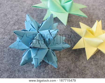 Folded stars from paper for christmas time