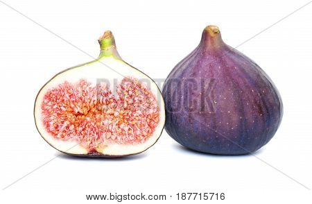 two violet Figs Fruit on White Background