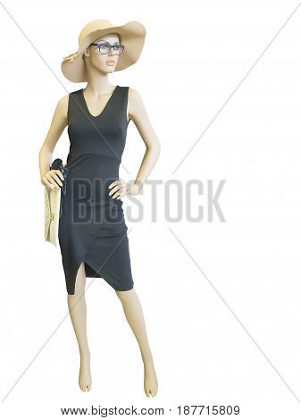 Full-length female mannequin dressed in summer fashionable clothes isolated on white background. No brand names or copyright objects.