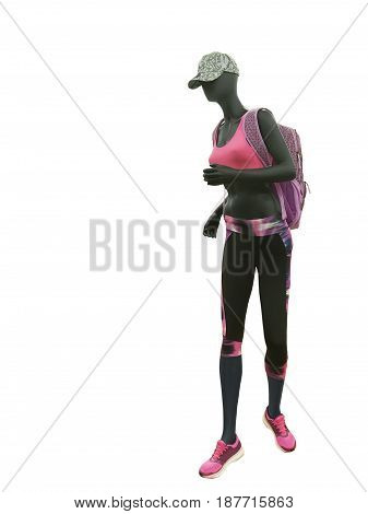 Full-length female mannequin dressed in colorful sport athletics clothes isolated on a white background. No brand names or copyright objects.
