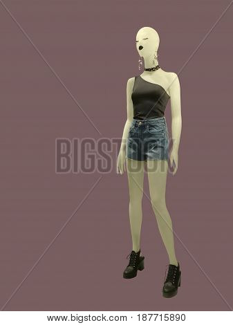 Full-length female mannequin dressed in summer casual clothes isolated. No brand names or copyright objects.