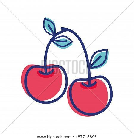 cherry fruit icon stock, vector illustration design image