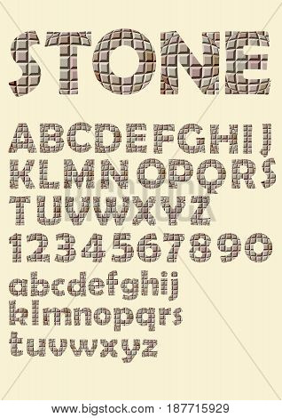 Alphabet in stone cubes texture design, uppercase letters, numbers, vector EPS 10