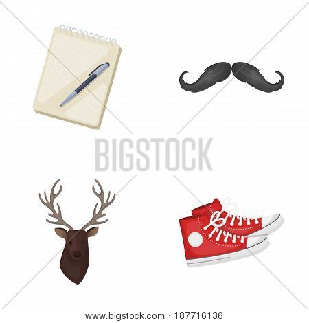 Hipster, fashion, style, subculture .Hipster style set collection icons in cartoon style vector symbol stock illustration .