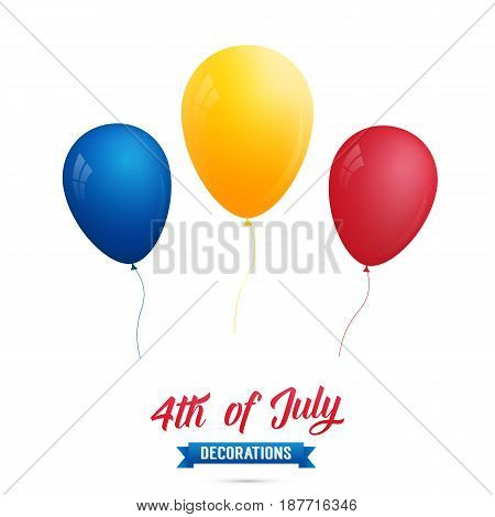 4th of July-USA Independence Day. Decoration set of red, blue, gold balloons. Fourth of July vector illustration