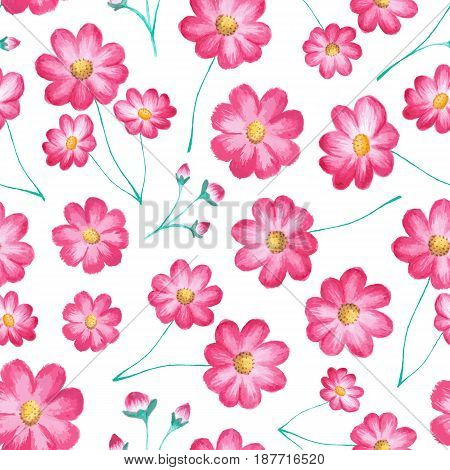 Vector seamless floral pattern with cosmos flowers (pink asters). Watercolor painting, stylish vector illustration with blooming plants isolated on white. Design element for prints, decor, fabric, textile, cloth
