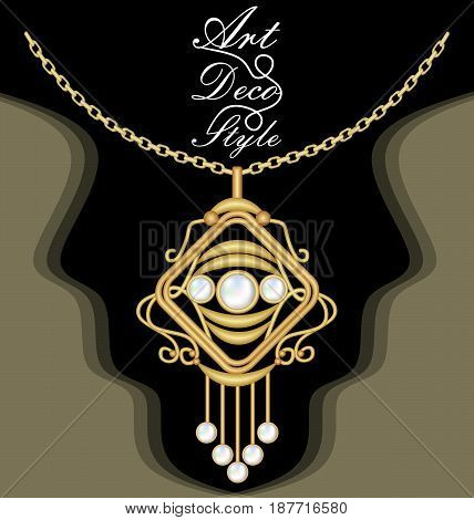 Expensive art deco filigree necklace, pendant with pearl, on chain, antique gold jewel, fashion in victorian style, vector EPS 10