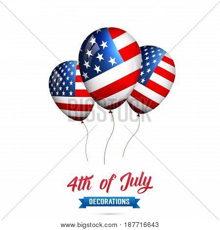 4th of July-USA Independence Day. Decoration set of USA flag balloons. Fourth of July vector illustration