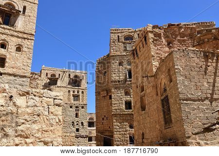 Thula Yemen Traditional architecture in the medieval village of Thula. Thula is a UNESCO World Heritage City now destroyed by the civil war