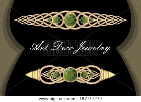 Gold tie pin in art deco style, antiquarian clasp with green gems smaragd, luxurious hair clip, vector EPS 10