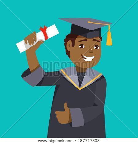 Portrait happy smiling african man graduates in graduation gowns holding diplomas in their hands blue background. Vector illustration concept graduation ceremony cartoon style