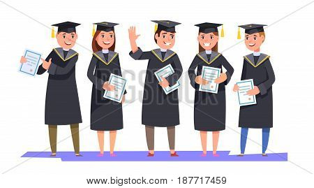 Group happy smiling graduates in graduation gowns holding diplomas in their hands isolated background. Vector illustration concept graduation ceremony cartoon style
