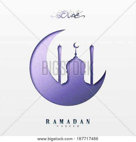 Ramadan greeting card with arabic calligraphy Ramadan Kareem. Islamic background half a month with mosques