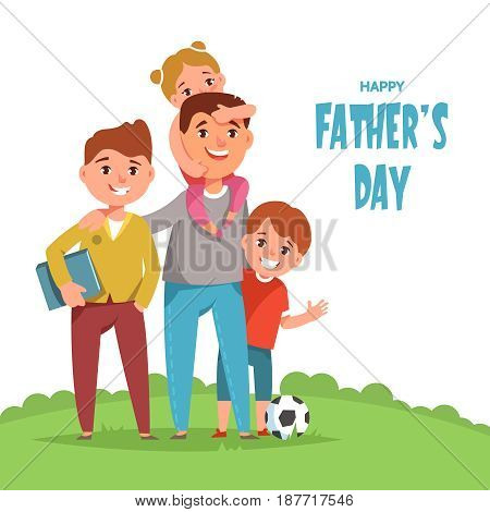 Happy loving family father and his child boy son and girl daughter standing together outdoors. Vector illustration concept of Father's day cartoon style