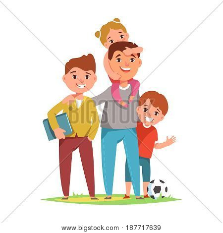 Happy loving family father and his child boy son and girl daughter standing together on white background. Vector illustration concept family life and fatherhood