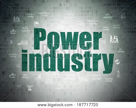 Industry concept: Painted green text Power Industry on Digital Data Paper background with  Hand Drawn Industry Icons