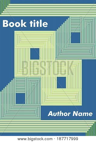 Abstract book cover with green stripped rectangles and squares on dark blue background, template for textbook, leaflet, poster, flyer, cover, vector EPS 10
