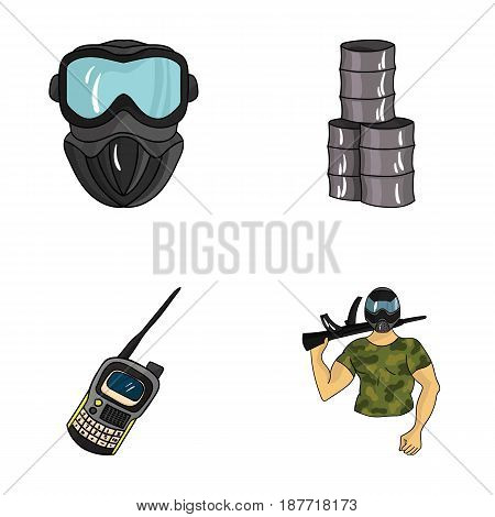 Equipment, mask, barrel, barricade .Paintball set collection icons in cartoon style vector symbol stock illustration .
