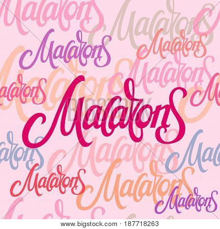 A seamless pattern with macaroon lettering. Pink purple colorful background