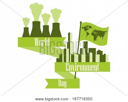 World Environment Day 5Th June. Environmental Pollution. Pipes With Smoke. Ribbon And Flag With Worl