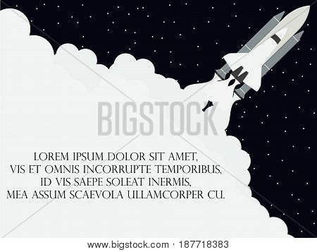 Space Shuttle Flat Style. Launching The Satellite. Take-off Spaceship. Vector Illustration