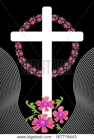 Unusual funereal decoration with cross silhouette and small pink flowers in wreath, white simple cross on black background, vector EPS 10