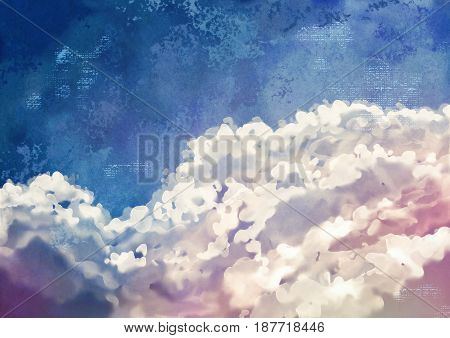 Sky digital watercolor painting. Artistic abstract background with subtle texture of the canvas