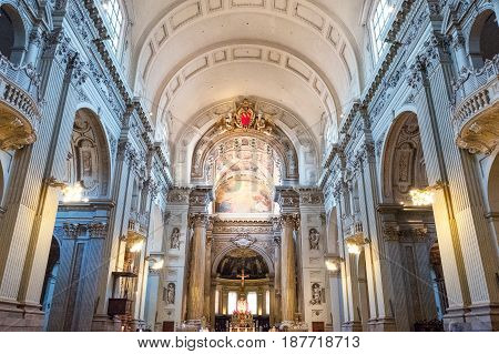 Bologna, Italy - May 6, 2016:  The nave of the St. Peter cathedral