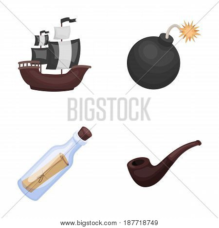 Pirate, bandit, ship, sail .Pirates set collection icons in cartoon style vector symbol stock illustration .