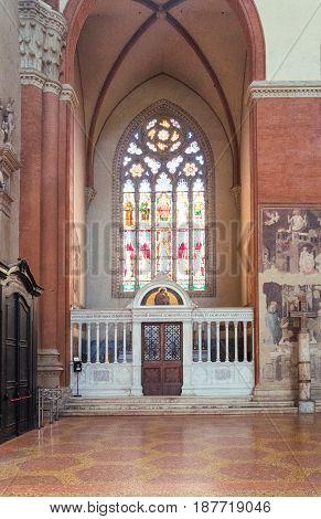 Bologna, Italy - May 6, 2016: A chapel of the St Petronio Basilica