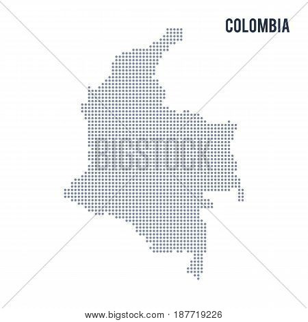 Vector Dotted Map Of Colombia Isolated On White Background .