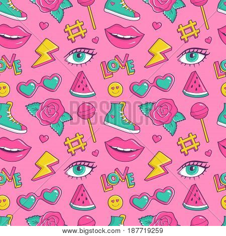 Cute seamless pattern with colorful patch badges. Fashion background in pink blue-green white and yellow colors. Vector trendy illustration in 80s-90s comic style.