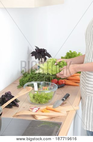 Fresh vegetables on the cutting board, salad in a glass dish. Concept of cooking.
