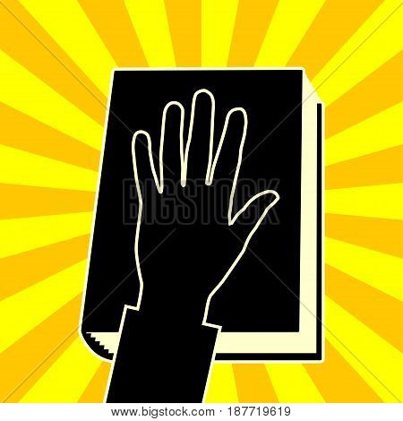 An illustration of a hand on a book on a yellow background.