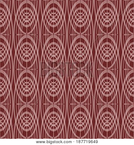 Overlapping concentric oval patterns on dark red background, seamless vector, classic geometric ornament, vector EPS 10