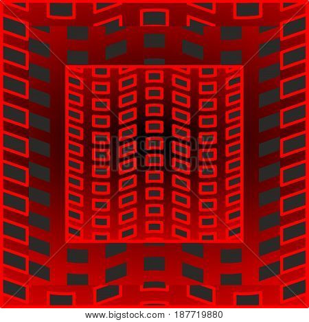 Black and red optical art tile with rectangle patterns, 3d optical illusion, vector EPS 10