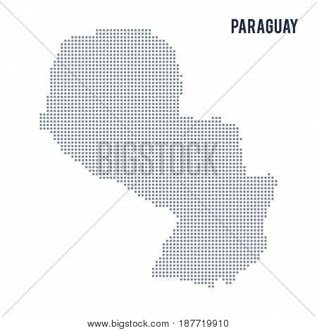 Vector Dotted Map Of Paraguay Isolated On White Background .