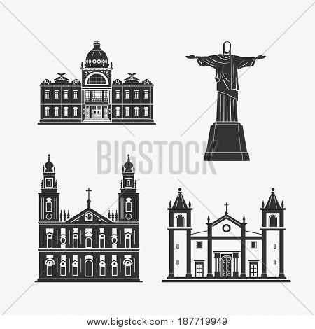 Historic Monument Architecture of Brazilian Vector Illustration