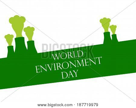 World Environment Day 5Th June. Environmental Pollution. Pipes With Smoke. Vector Illustration
