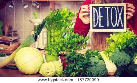 Woman Having Green Diet Vegetables, Detox Sign