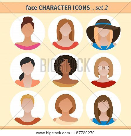 Female faces avatars. Character icons. Vector illustration set 2