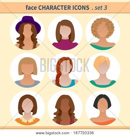 Female faces avatars. Character icons. Vector illustration set 3