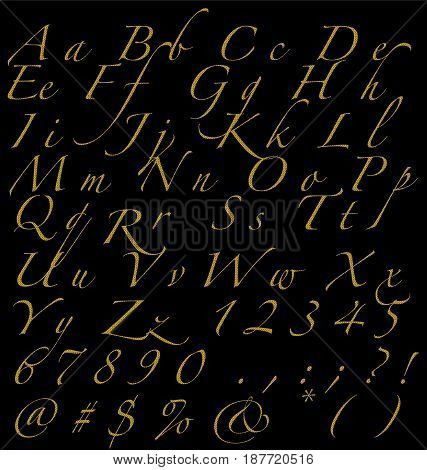 Glitter Golden Handwritten Alphabet Numbers And Signs On Dark Background Fonts Concept.ai