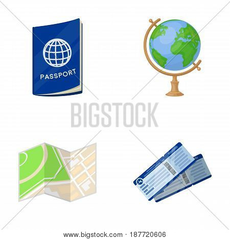 Vacation, travel, passport, globe .Rest and travel set collection icons in cartoon style vector symbol stock illustration .