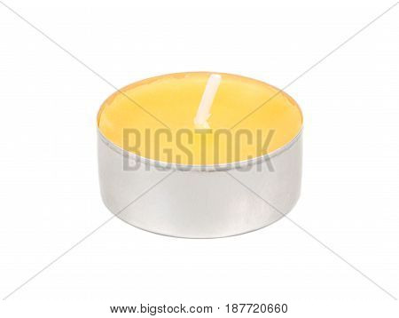 Small scented candle with the smell of mango on white background